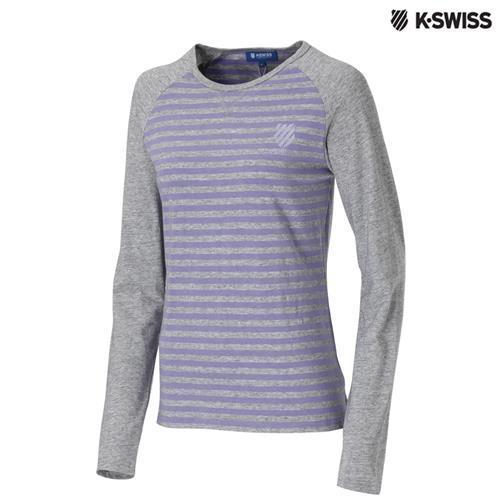 K-Swiss Slim Fit Stripe LS Tee長袖T恤女-灰/紫