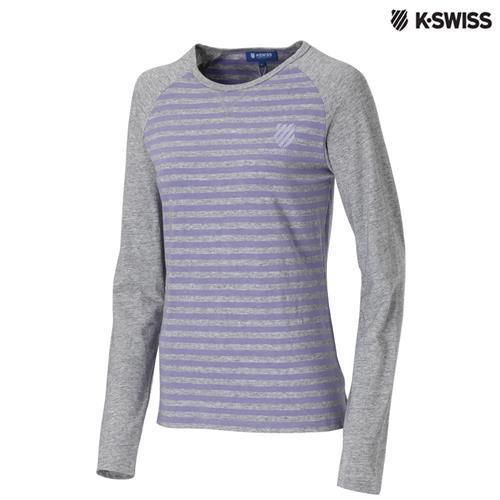 K-Swiss Slim Fit Stripe LS Tee長袖T恤女-灰/紫