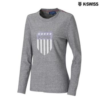 K-Swiss Heather Print LS Tee圓領長袖T恤-女-炭灰