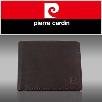 【pierre cardin皮爾卡登】時尚素面極簡風短皮夾咖啡色-P12012