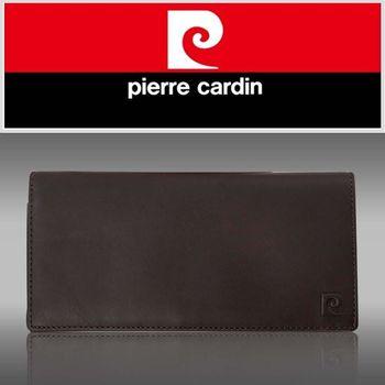 【pierre cardin皮爾卡登】時尚素面極簡風真皮長夾咖啡色-p11012