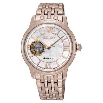 SEIKO Presage 羅馬時光開芯機械女錶-玫瑰金/34mm 4R38-01B0G(SSA848J1)