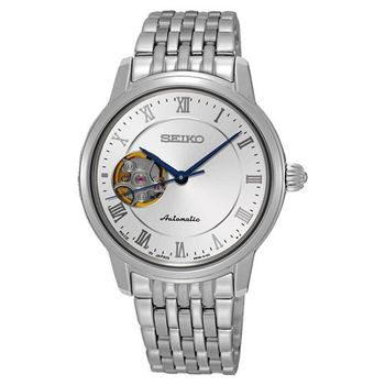 SEIKO Presage 羅馬時光開芯機械女錶-銀/34mm 4R38-01A0S(SSA859J1)