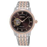 SEIKO Presage 羅馬時光開芯機械女錶-咖啡x雙色/34mm 4R38-01A0P(SSA852J1)