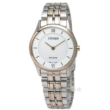 CITIZEN 星辰表 / EG3224-57A / 都會輕薄日期仕女光動能不鏽鋼手錶 白x鍍玫瑰金 30mm