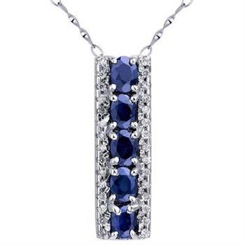 【米蘭精品】925純銀項鍊藍寶石吊墜時尚大方簡約長方形73lg9