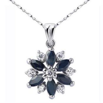 【米蘭精品】925純銀項鍊藍寶石吊墜時尚奢華高貴花形73lg11