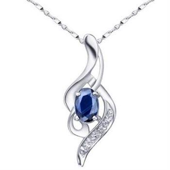 【米蘭精品】925純銀項鍊藍寶石吊墜時尚精選高雅氣質73lg14