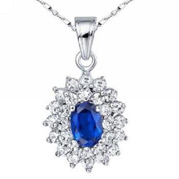 【米蘭精品】925純銀項鍊藍寶石吊墜時尚奢華高貴華麗73lg18