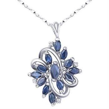 【米蘭精品】925純銀項鍊藍寶石吊墜時尚大方成熟高貴73lg26