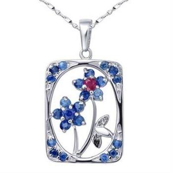 【米蘭精品】925純銀項鍊藍寶石吊墜方牌精美優雅小花73lg47