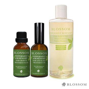 【BLOSSOM】薄荷迷迭香頭皮護理極上寵愛組(頭皮按摩油+洗髮精(4款任選)+養髮液)