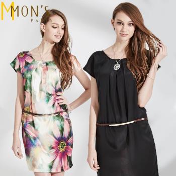 MONS100%蠶絲雙面穿彩繪造型洋裝(CE4027)