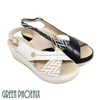 【GREEN PHOENIX】交叉對稱雙色格紋金屬扣全真皮楔型涼鞋-卡其色、黑色