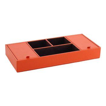 LOVEL 義大利設計皮革辦公收納-雙蓋5格置物盒