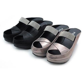 【 cher美鞋】MIT奢華晶鑽露趾厚底美拖♥黑色/鍚色♥01QMQ-HG