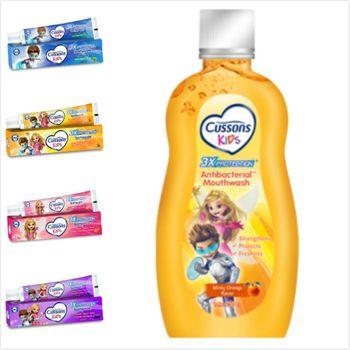 進口Cussons佳霜(兒童牙膏)(4款選擇)(45g)*6+漱口水(香橙口味)250ml*2
