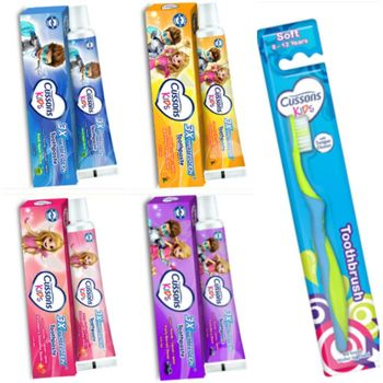 进口Cussons佳霜(儿童牙膏)(4款选择)(45g)*6+牙刷(8~12)岁*6