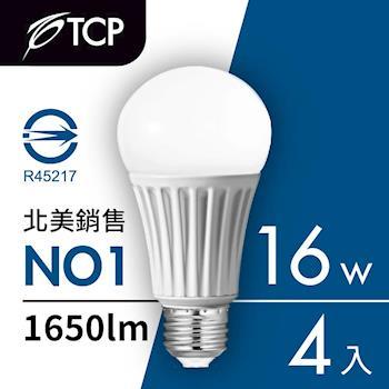 美國TCP 16瓦LED節能省電燈泡4入