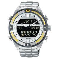 ALBA 雅柏 W兩個世界雙顯腕錶-銀灰圈/44mm N021-X003Y(AZ4019X1)