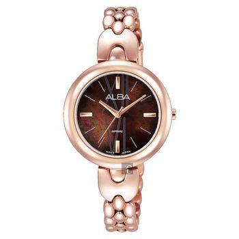ALBA 優雅風采手鍊女錶-咖啡x玫瑰金/28mm VJ21-X092K(AH8342X1)