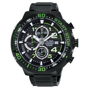 ALBA SignA 疾速奔馳計時腕錶-黑x綠/49mm VD57-X016G(AM3101X1)