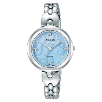 ALBA 施華洛世奇晶鑽手鍊女錶-藍x銀/28mm VJ21-X092B(AH8345X1)