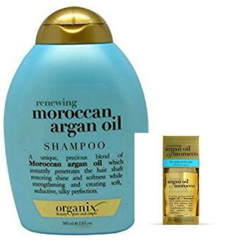 美國Ogx Argan有機洗髮精(摩洛哥堅果油)(13oz/385ml)*2+摩洛哥堅果油護髮油(免沖洗)(3.3oz/100ml)*1