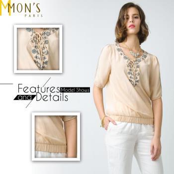 MONS精緻柔美刺繡綁帶上衣(CA6050)