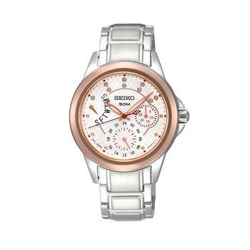 SEIKO Criteria 璀璨星光晶鑽腕錶(白/34mm)5Y66-0AY0KS (SNT892P1)