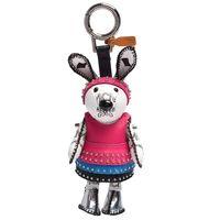 MCM Rabbit Charm小白兔卯釘皮革裙塗層帆布鑰匙圈/吊飾(桃紅)