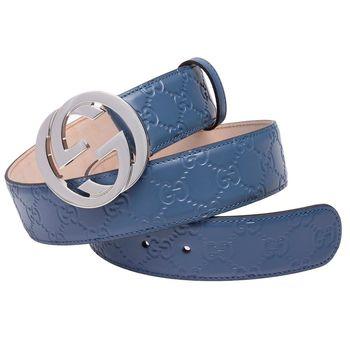 GUCCI 經典Guccissima GG壓紋金釦牛皮腰帶/皮帶(天藍-90)