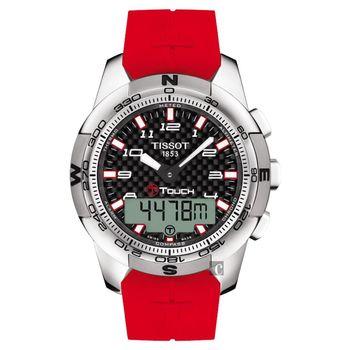 TISSOT T-TOUCH II 亞運會限量鈦觸控腕錶-黑x紅/44mm
