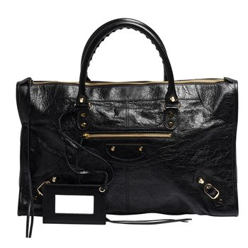 Balenciaga 巴黎世家經典Work系列羊皮亮金釦手提機車包(黑)