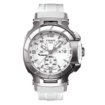 TISSOT T-RACE Ladies 計時運動腕錶-白/36.65mm T0482171701700