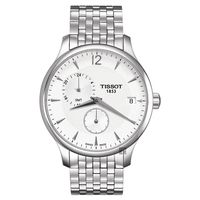 TISSOT Tradition GMT 二地時區經典腕錶-銀/42mm T0636391103700