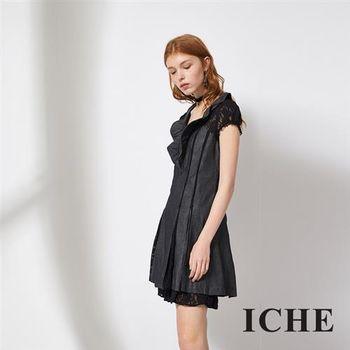 【ICHE 衣哲】蕾絲拼接牛仔單寧造型洋裝 兩色