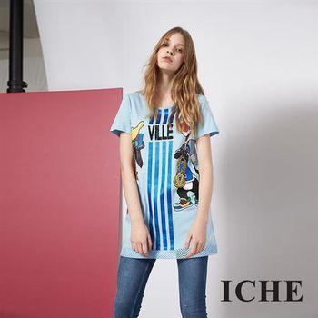 【ICHE 衣哲】個性時尚卡通印花長版造型T恤上衣 兩色