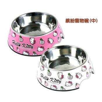 【三麗鷗】HELLO KITTY繽紛寵物碗(M) 白色/粉色