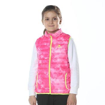 【聖伯納 St.Bonalt】女中童-炫彩羽絨背心(68094)-玫紅迷彩/綠色迷彩