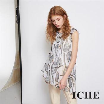 【ICHE 衣哲】輕時尚印花荷葉雪紡紗不規則造型上衣