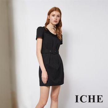 【ICHE 衣哲】優雅蕾絲拼接提花造型洋裝