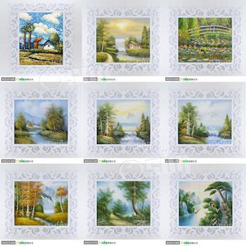 【Osun】手繪真跡油畫—自然風景系列 多款任選 (含雕花木塑板畫框-巴洛克款/水立方款,請於備註填寫畫框款式)