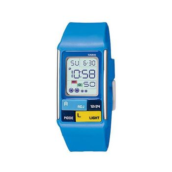 【CASIO】 太空漫步幾何方塊數字錶-藍 (LDF-50-2A)