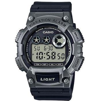 【CASIO】 超亮LED強悍震動數位運動錶-鐵灰色 (W-735H-1A3)