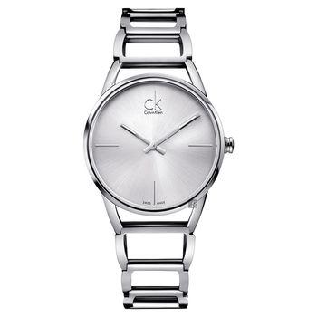 Calvin Klein CK Stately時尚鏤空手環腕錶-銀/33mm K3G23126