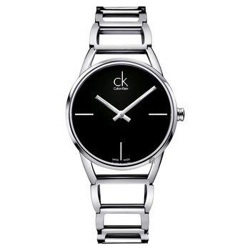 Calvin Klein CK Stately時尚鏤空手環腕錶-黑/33mm K3G23121