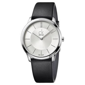 Calvin Klein CK Minimal 極簡都會女錶-銀x黑/35mm K3M221C6