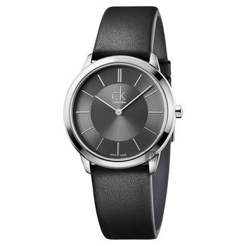 Calvin Klein CK Minimal 極簡都會女錶-灰x黑/35mm K3M221C4