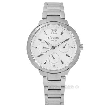 LICORNE 力抗 / LT127LWCI / entree 永恆時光真鑽三環藍寶石水晶不鏽鋼手錶 銀白色 35mm